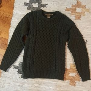 Inis Crafts Green Chunky Knit Fisherman Sweater M